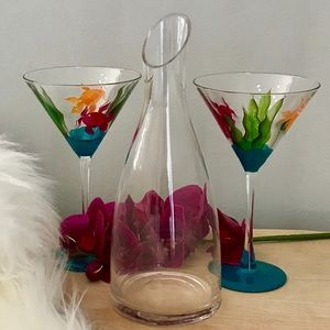 COLORFUL FISH THEMED COCKTAIL GLASSES & DECANTER